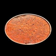 เหรียญปฐมอรหันต์สุวรรณภูมิเคลือบส้มมีองค์พระ 5 ซม.สวยๆครับ