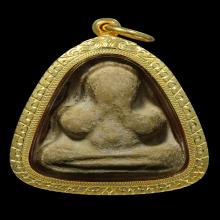 พระปิดตาหลวงพ่อทองสุข พิมพ์สะดือจุ่น ไม่ตัดปีก เลี่ยมทอง