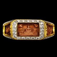 แหวน มหาจัพรรดิ เลี่ยมทองฝังเพชร หลวงปู่ดู่ สะแก