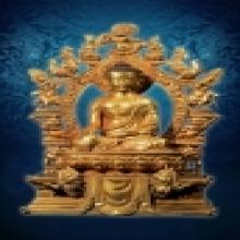พระพุทธรูปบูชาศิลปะธิเบต นั่ง หน้าตัก 9 ซ.ม. เปียกทองคำแท้ 2