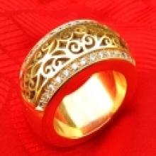 แหวนปลอกมีดสัตตะโลหะ อาจารย์ เฮง ไพรวัลย์ หุ้มฉลุฝังเพชร