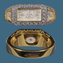 แหวนเลี่ยมทองฝังเพชร หลวงปู่ดู่ปี2532 ทันหลวงปู่