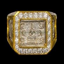 แหวนมหาจักรพรรดิ หลวงปู่ดู่ วัดสะแก ปี2522 เลี่ยมเพชร