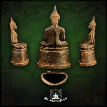 พระพุทธรูปบูชาสมัยเชียงรุ้ง ปางมารวิชัย เนื้อสำริด สูง8นิ้ว
