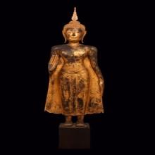 055 พระพุทธรูป สมัยอยุธยาศิลปะบ้านพลูหลวงยืน ขนาด 1 เมตรกว่า