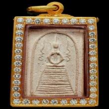 พระสมเด็จหลวงปู่ภู พิมพ์แซยิด ติดที่1-2โล่ ตลับทอง