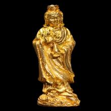 รูปหล่อเจ้าแม่กวนอิมหลวงปู่โต๊ะเนื้อนวะกะไหล่ทองปี2517