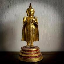 พระบูชาไม้โพธิ์แกะ หลวงปู่บุญ วัดกลางบางแก้ว ปางห้ามสมุทร