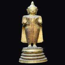 พระบูชาไม้โพธิ์แกะปางห้ามสมุทรหลวงปู่บุญ วัดกลางบางแก้ว
