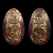 กะลาแกะพระราหู(สุริยัน-จันทรา)ยุคต้น ครูบาเลิศวัดทุ่งม่านใต้