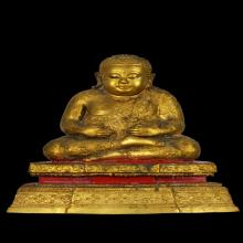 พระบูชาสังกัจจายน์  5 นิ้ว พิมพ์อุ้มทรัพย์ กะไหล่ทอง