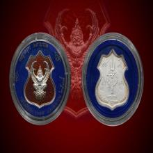 พญาครุฑ ล.พ วราห์ 2โค๊ด กรรมการ ปี38 จารยุคเก่า เงินลงยาแดง