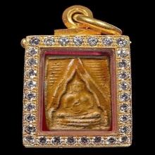 พระผงของขวัญ หลวงพ่อสด รุ่นแรก เนื้อผง มีเคลือบ พ.ศ 2493