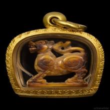 ๑ สิงห์งาแกะศิลป์ปากเจาะ 2 ขวัญ หลวงพ่อเดิม วัดหนองโพ ๑