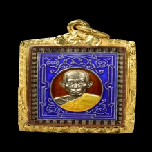 เหรียญกฐิน หลวงพ่อรวย ปี 41 เนื้อเงินลงยา  เลี่ยมทอง