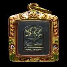 ปรกใบมะขาม รุ่นจตุรพิธพรชัย ปี2517 เลี่ยมทองลงยา