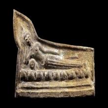 พระปางไสยาสน์เนื้อชินสนิมแดงมีทองเกือบเต็มองค์กรุวัดเทวสังฆา