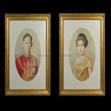 รูปวาดสีฝุ่นในหลวง ร.9 และพระราชินี